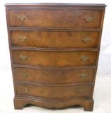 SOLD - Burr Walnut Serpentine Front Chest of Drawers